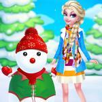 Princess Elsa And Snowman Dress Up